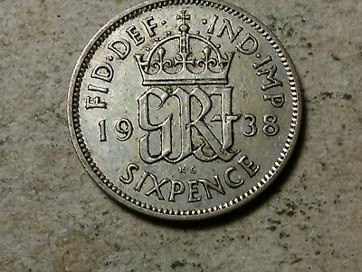 Great Britain 6 pence sixpence 1938 George V Wedding coin gift silver