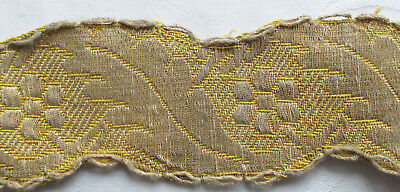 Vintage Gold Metallic Trim Repeating Blossom Leaf Design Scalloped Blond  French