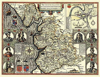 116161 MAP ANTIQUE 1610 SPEED LANCASHIRE HUNDREDS OLD Decor WALL PRINT POSTER AU