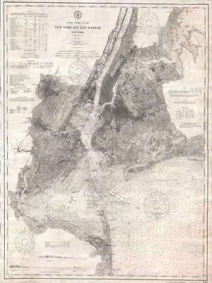 115619 GEOGRAPHY MAP ILLUSTRATED ANTIQUE COAST HARBOR Decor WALL PRINT POSTER AU