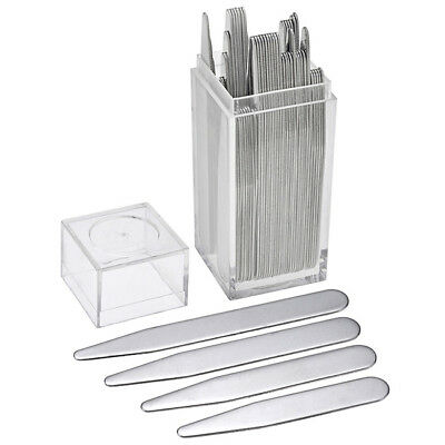 40pcs Men Silver Metal Bone Stiffeners In Plastic Box Insert Shirt Collar Stays