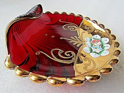Italian Ruby Glass Clam Shell Dish Hand Painted Gold Gild