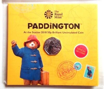 2018 UK 50p NEW & RARE-PADDINGTON AT THE STATION EXTREMELY Special UK Mint coin