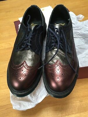 Dr Martens Made In England Cherry Red + Pewter + Navy Anilmorbido Shoes 10 Nib
