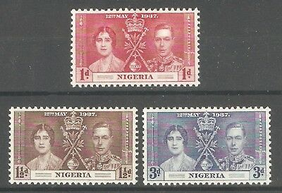 Nigeria 1937,Coronation Issue,Sc 50-52,VF Mint Previously Hinged* (SH-10)