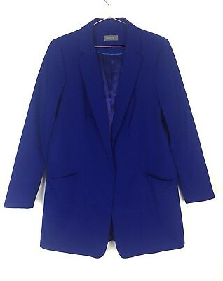 Jacqui E Size 14 Women's Long Sleeve Evening Work Blazer Jacket V-Neckline Blue