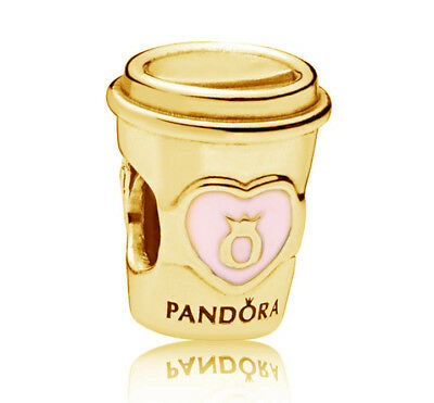 New Genuine PANDORA Drink to Go Charm 14K Gold Vermeil 797185EN160 Gold Plated
