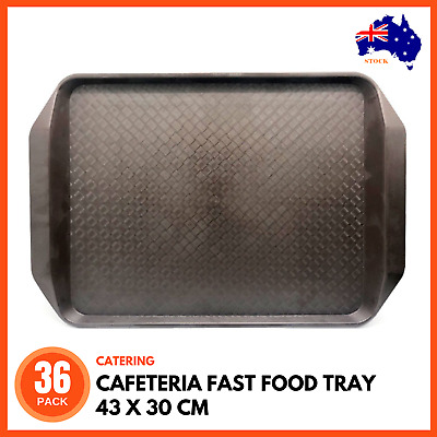 36 x CAFETERIA FAST FOOD TRAY WITH HANDLES BROWN 43 x 30 cm Cafe Standard Serve