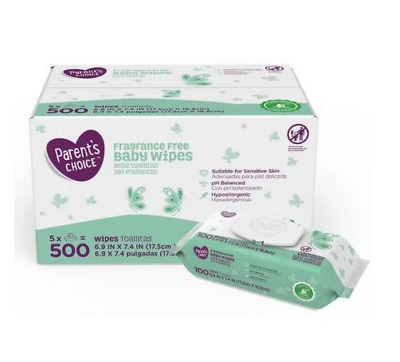 Parent's Choice Fragrance Free Baby Wipes 5 pack 100 sheets each (2 lots)