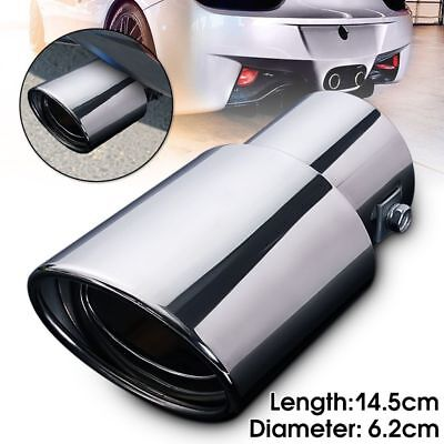 Round Chrome Car Exhaust Pipe Rear Muffler Tail Throat Stainless Steel