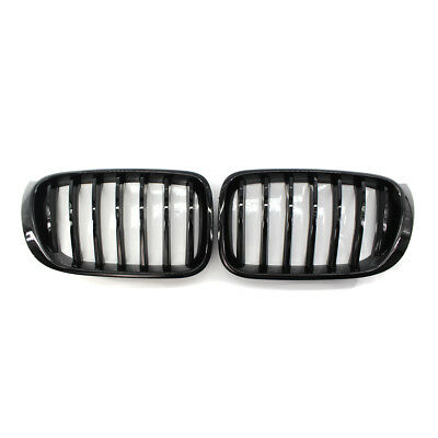 Pair Fits BMW F25LCI X3 F26 X4 2015-17 Grill Shiny Black Front Kidney Grille ABS
