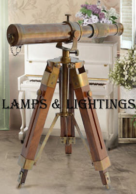 Small Marine Wooden Tripod Antique Brass Telescope For Office Work