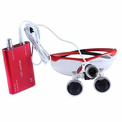 Dental Surgical Binocular Loupes 3.5X-R Optical Glass With LED Light Lamp Red