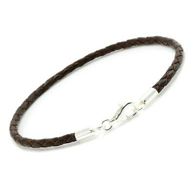 Mens/Ladies Leather Bracelet With Sterling Silver Clasp-3mm Braided Dark Brown