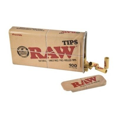 RAW 100 Pre-Rolled Tips in Tin Metal Rectangular Sliding Top Tin Case With Tips