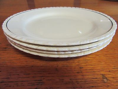 1930s 4 x Dinner Plates in Cream + Gold Diana New Hall Hanley England