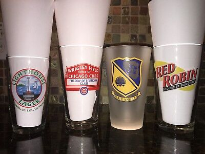 Beer Pint Glasses Cubs Blue Angels Budlight