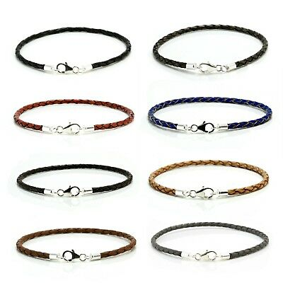 Leather Bracelet With Sterling Silver Clasp-3mm Braided Leather Cord-Mens/Ladies