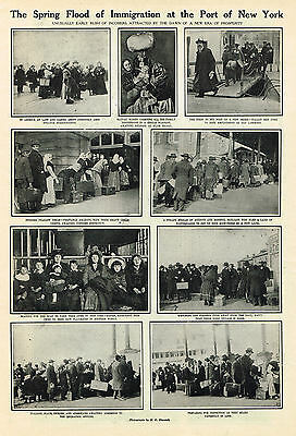 Immigration At The Port Of New York  USA 1910  PRINT
