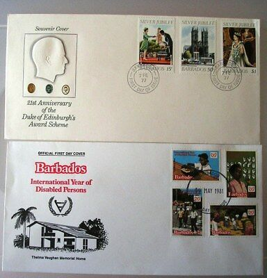 Barbados 1977 & 1981 - Two First Day Covers FDC - (56)