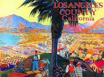 1920s Los Angeles County California Vintage Travel Advertisement Art Poster