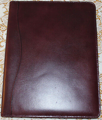 STEBCO BRAND BURGUNDY Leather Notepad  PADFOLIO PLANNER FULL SIZE Note Pad