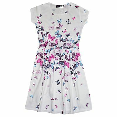 Girls Skater Dress Kids Butterfly Print Summer Party Dresses New Age 7-13 Years