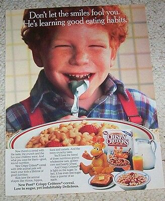 1987 vintage ad - Post Crispy Critters Cereal cute little boy Print ADVERTISING