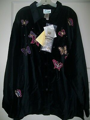 "Quacker Factory   Sz 3X   Black LS ""BUTTERFLY"" Blouse  NEW w TAGS"
