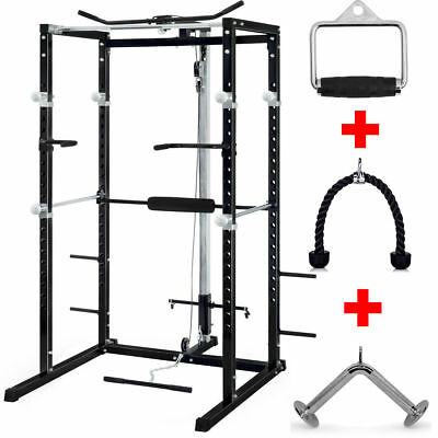 TnP POWER RACK SQUAT CAGE GYM w/LAT PULL DOWN / SEATED ROW / ARM CURL
