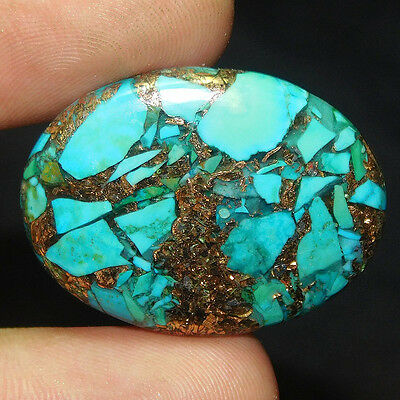 31.7Cts 100% NATURAL AWESOME COPPER TURQUOISE OVAL 34X25 GEMSTONE QEM1292