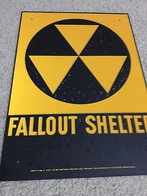 """Fall SALE VINTAGE 1960's FALLOUT SHELTER SIGN GALVSTEEL 10""""x14"""" AGE SPOTS"""