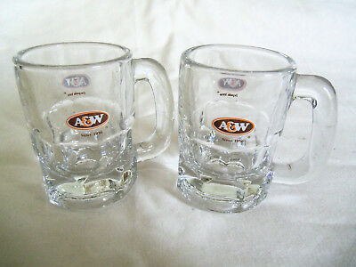 2 A&W Small Root Beer mugs Libby glass