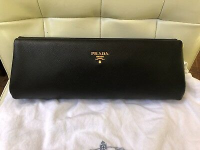 56cc89b92b23 PRADA SAFFIANO BLACK Lux Saffiano Leather Frame Clutch, Gold $1390 ...