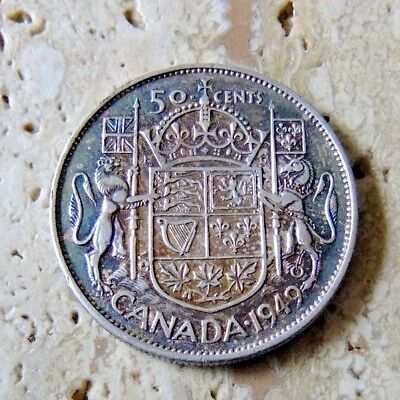 1949 Canada Silver Fifty Cent Coin - Toning