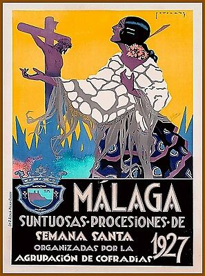1927 Malaga Spain Vintage Spanish Travel Wall Decor Advertisement Poster Print