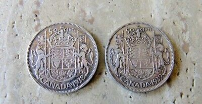 1938 and 1939 Canada Silver Fifty Cent Coins
