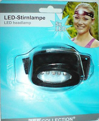 LED - STIRNLAMPE ~ 5x LED´s ~ SEHR HELL ~ KOPFLAMPE ~ BELEUCHTUNG ~ ***NEU***