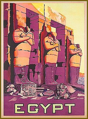 Egypt Abu Simbel 2 Vintage Travel Wall Decor Advertisement Art Poster Print