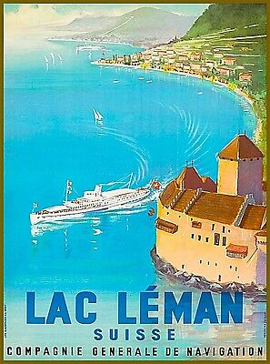 Lake Leman Switzerland Suisse Vintage Travel Advertisement Art Poster Print