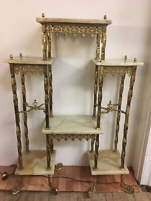 Magnificent Antique Brass And Alabaster Etagere