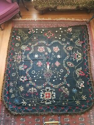 Antique Hand Embroidered Bedspread/Coverlet Tapestry 1811