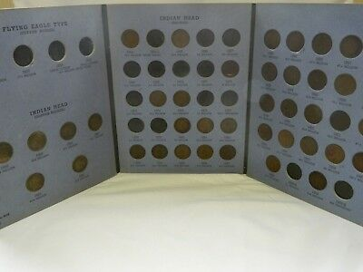 43 coin lot with book Indian Head Pennies 1859, 1860, 1861, 1862, 1863, 1864