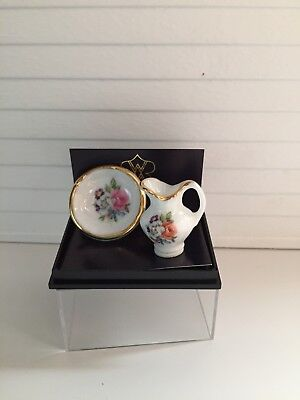 Dollhouse Miniatures Reutter Porcelain Pitcher & Bowl Set, New, 1:12