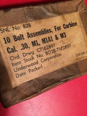 BOX WWII ERA for M1 Carbine Bolts ( EMPTY) carbine Cal .30 M1 underwood WWII