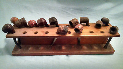 Vintage lot of 13 assorted smoking pipes and wood pipe stand Grabow Medico