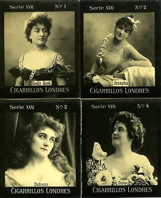 Revised - Scarce 1902 Series 31 CIGARRILLOS LONDRES ACTRESS CARDS   #'S 1-8
