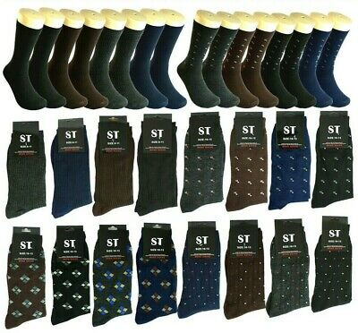 New 12 pairs Men Multi Color ST Pattern Cotton Fashion Casual Dress Socks 10-13