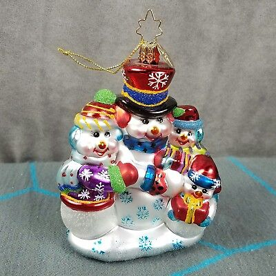 Christopher Radko Snowman Family Christmas Ornament Glass Holiday Decoration