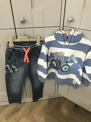 Next Boys Jeans And MAtching Hooded Stripe Top Age 3-4 Years